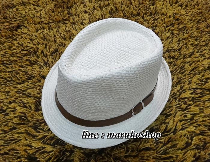 หมวกปานามาปีกสั้น หมวกสาน หมวกปานามา สีน้ำตาลอ่อน พร้อมส่งค่ะ