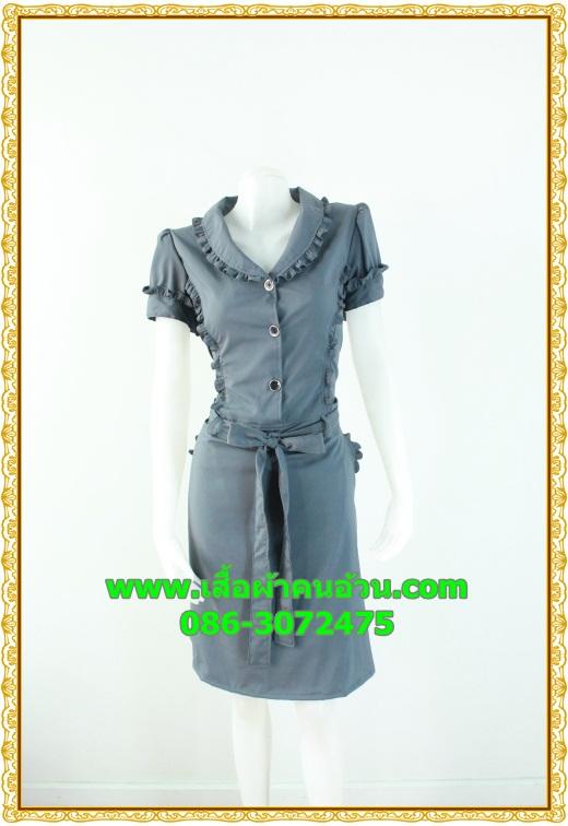 2424ชุดเดรสทำงาน เสื้อผ้าคนอ้วนปกเทเลอร์ใหญ่กระดุมหน้าสีเทาสไตล์เนี๊ยบ ทรงสุภาพเป็นทางการสวมใส่ทำงาน