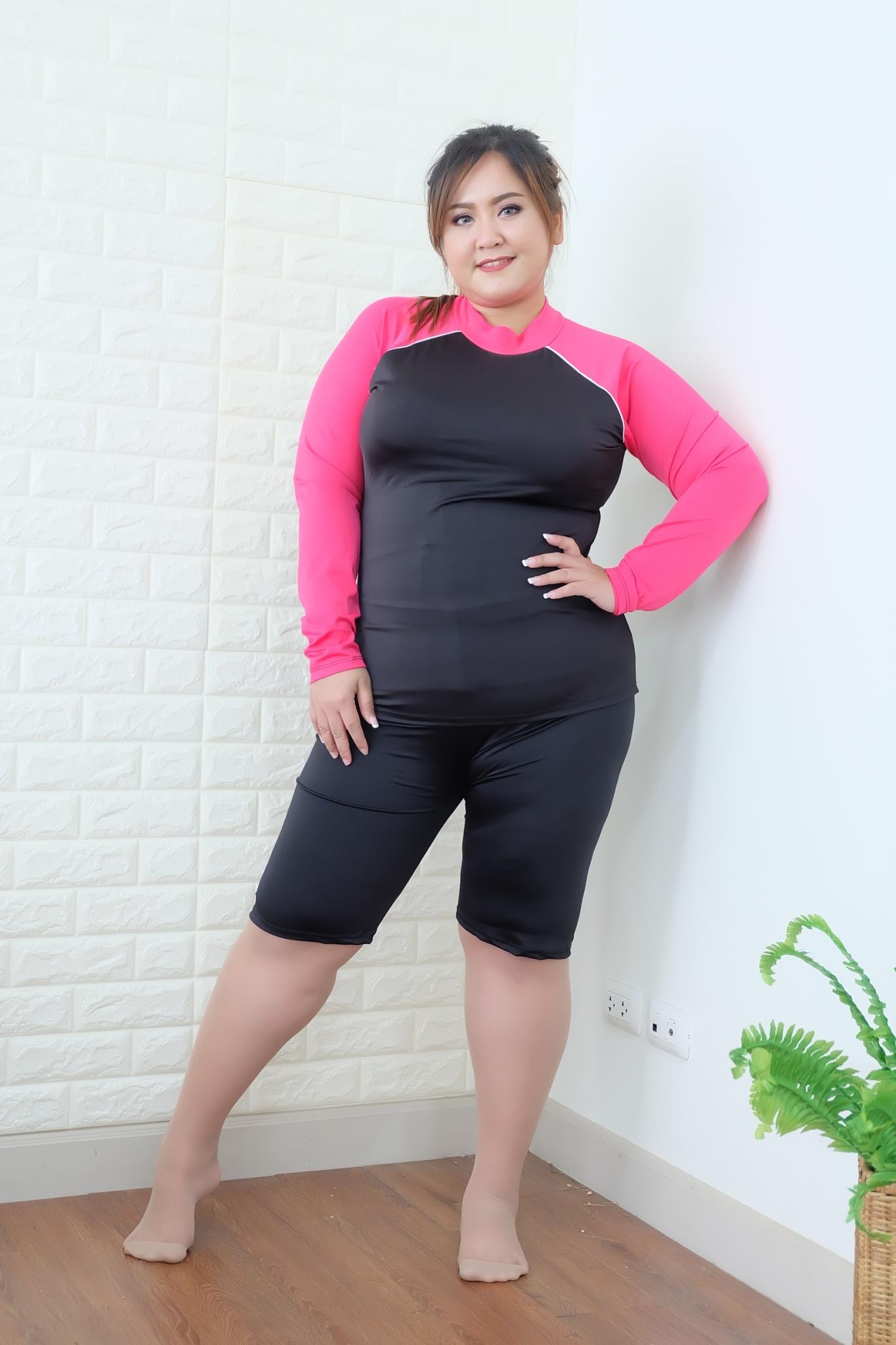 ชุดว่ายน้ำผู้หญิงแนวสปอร์ต กัน uv ขนาด7xl -9xl เสื้อ +กางเกง รบกวนใส่ขนาดในช่องหมายเหตุนะคะ เลือกขนาดคลิ๊ก