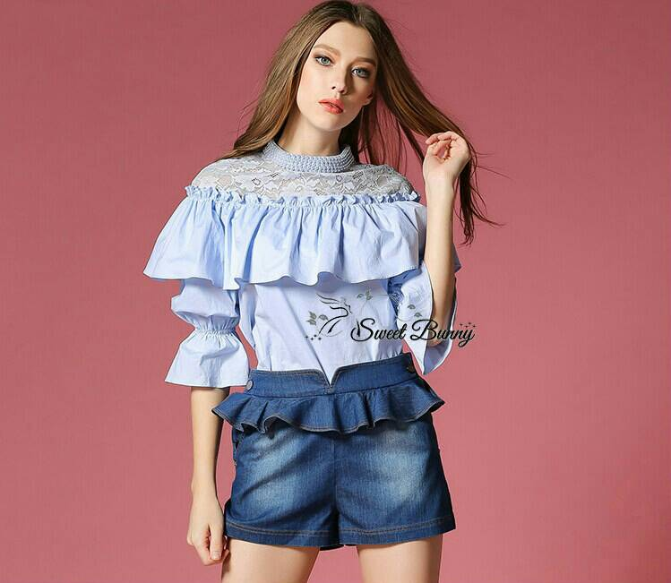 Sweet Bunny Present... Square shirring peal neck blouse with denim culottes pants set