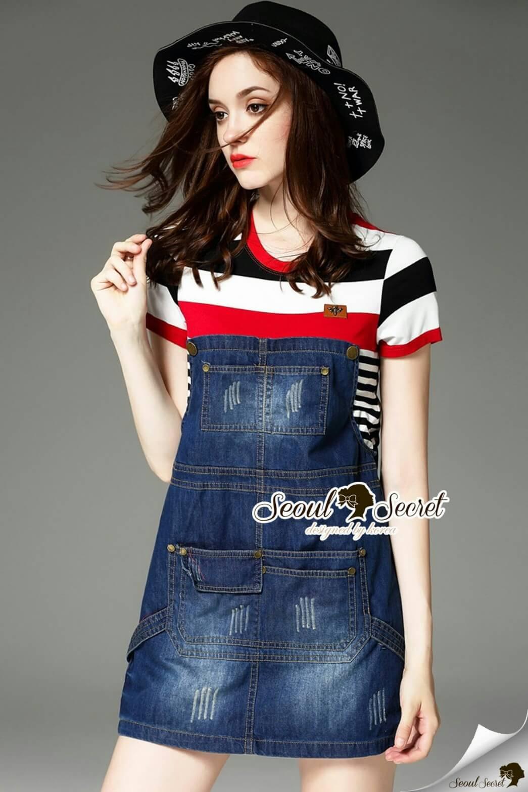 Seoul Secret Say's .... Almanda Chic Stipy Denim Dress