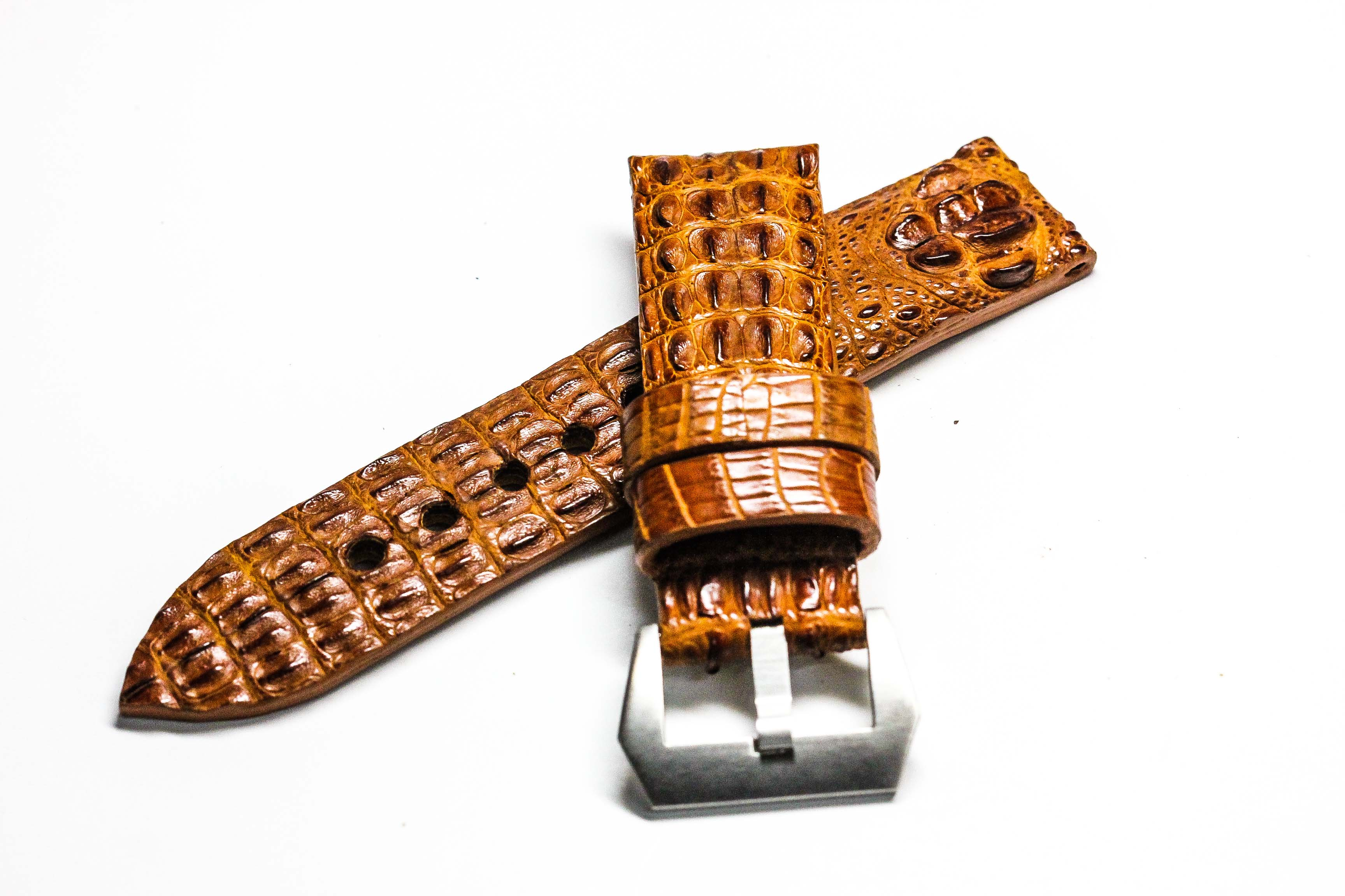 Brown Tan Genuine Leather Horn Black Crocodile Leather Watch Strap Pam Buckle 24mm