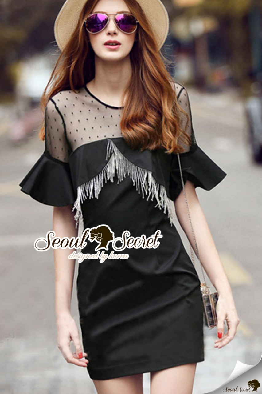 Seoul Secret Say's... Blacky Tuffy Chic Dress