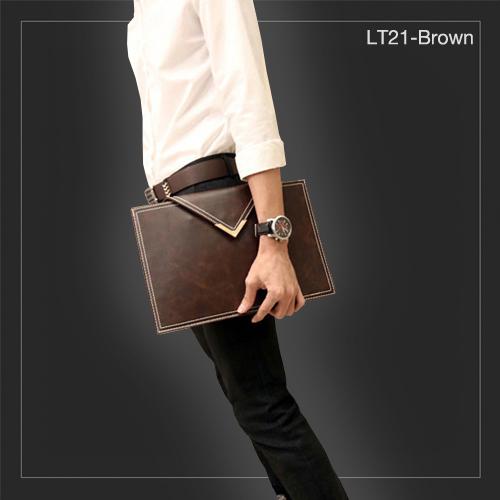 LT21-Brown กระเป๋าถือ กระเป๋าคลัช ผู้ชาย A4 หนัง Crazy Horse PU สีน้ำตาล