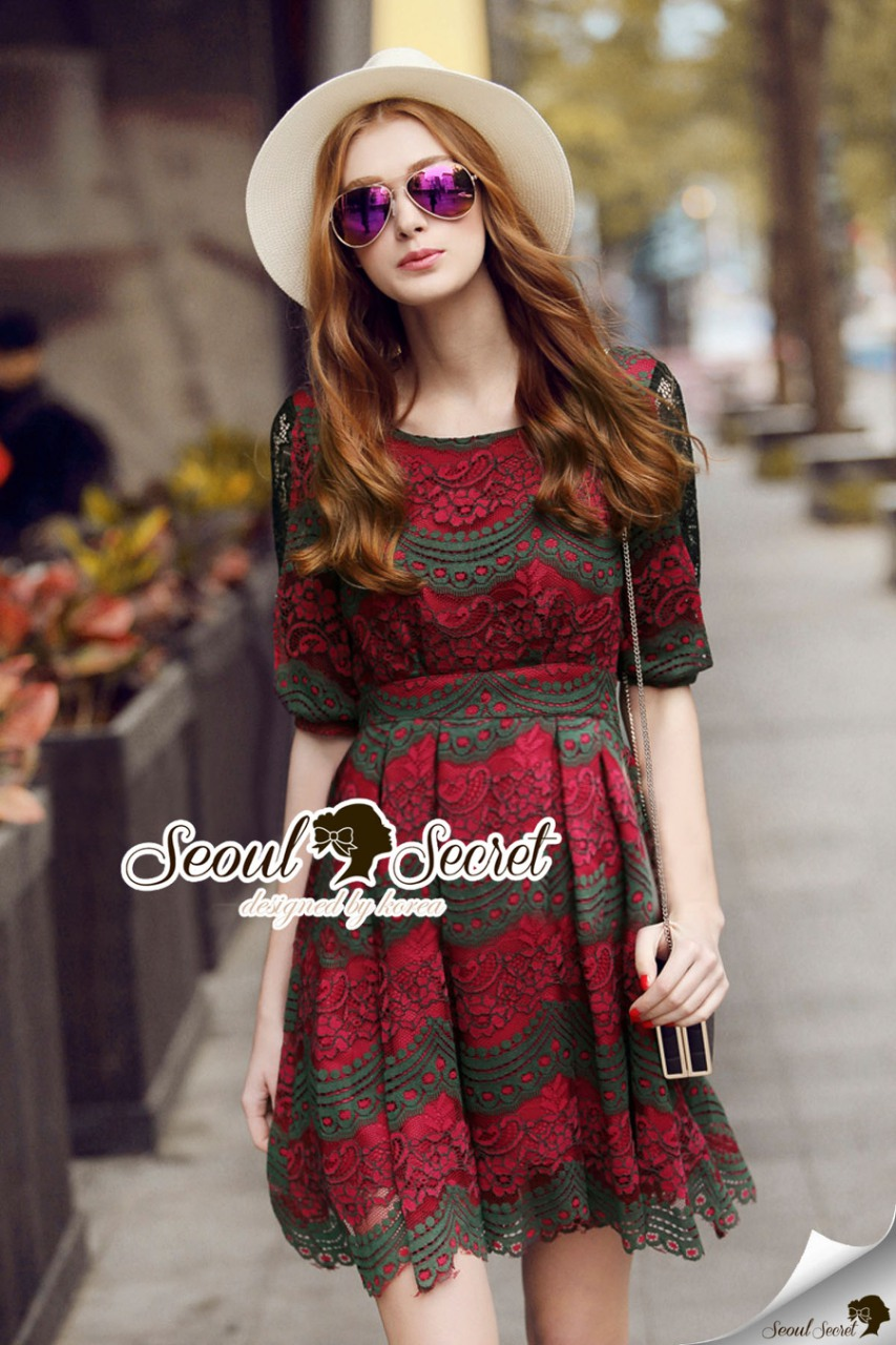 Seoul Secret Say's...Emerald Green Coral Red Layer Lace Dress