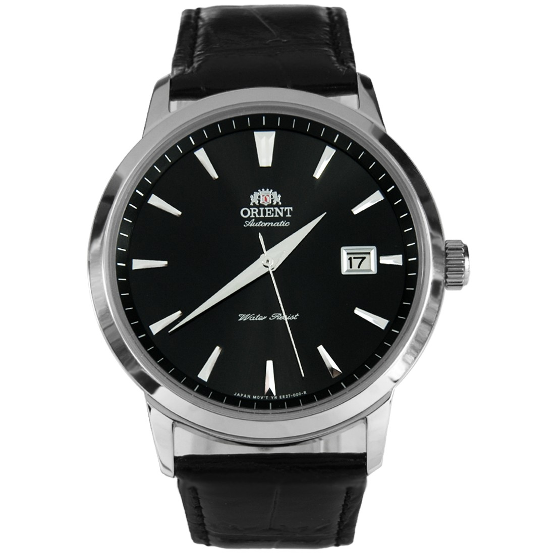 Orient Automatic Black Dial Silver Tone Leather Strap FER27006B