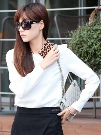 เสื้อทำงานแฟชั่น คอปกลายเสือ แขนยาว เสื้อสีขาว
