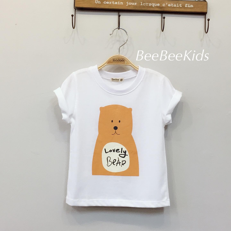 เสื้อยืดเด็ก ลายหมี สีขาว(S M L)