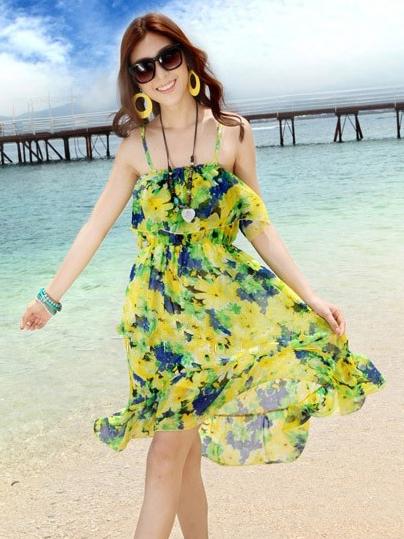 ชุดเดรสสั้น โบฮีเมียนเที่ยวทะเล ผ้าชีฟอง สายเดี่ยว ลายดอกไม้ เอวยืด หน้าอกแต่งระบาย สีเขียว