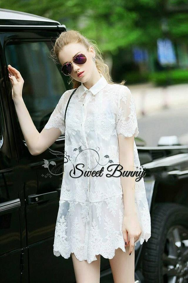 Sweet Bunny Present... Lace Shirt Dress
