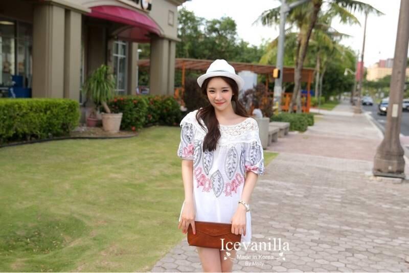 Korean ethnic stitching lace mini dress