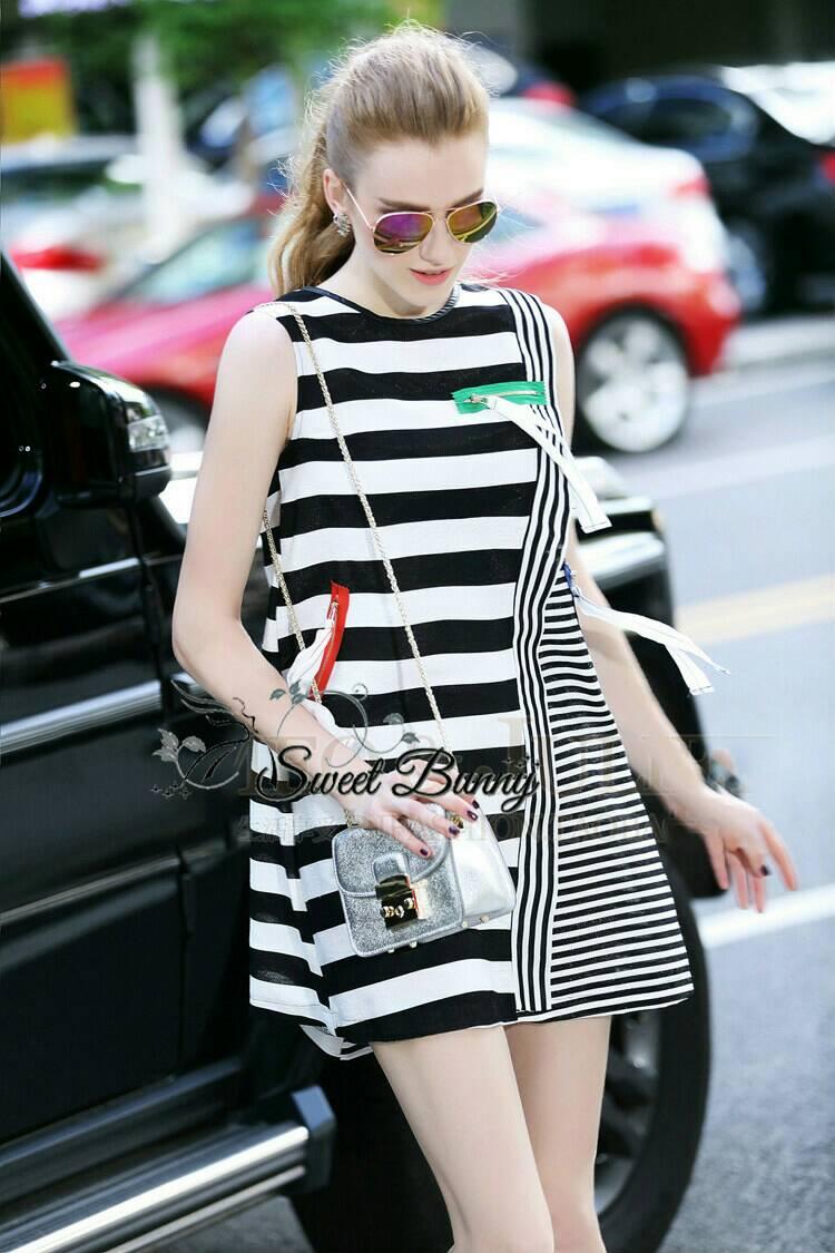 Sweet Bunny Present... Stripe Zip Dress