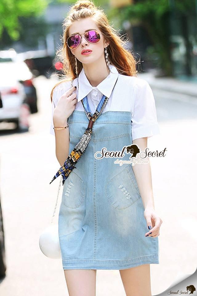 Seoul Secret Say's... Nifty Denim Shirt Dress Scraffy