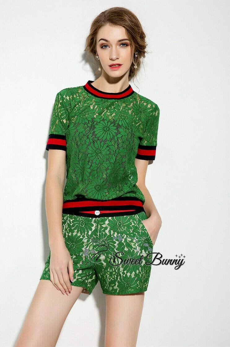 Sweet Bunny Present... Gucci Green Lace Short Set