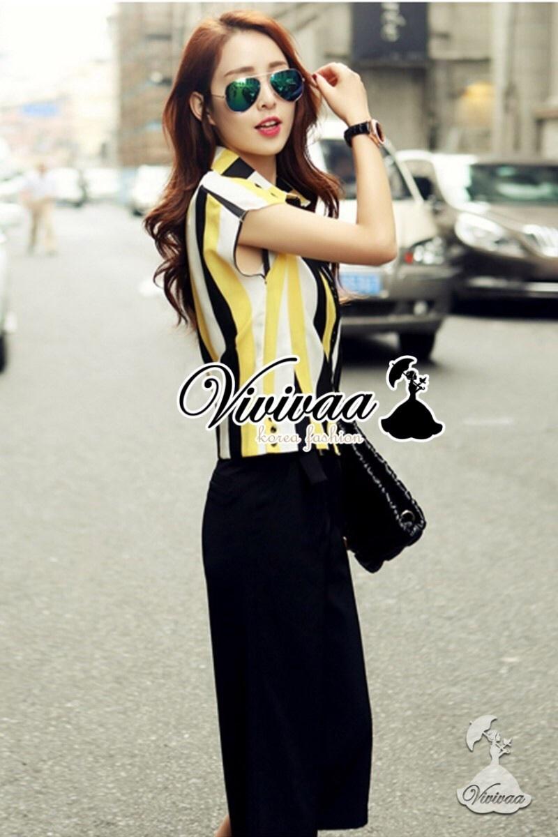 "Vivivaa recommend ""Diverse stripy chill set"" สีเหลือง"