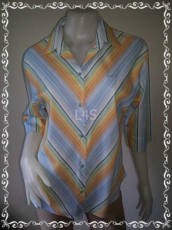 """BN3963--เสื้อผ้ามือสอง-->เสื้อเชิ้ต ลายทาง ESPRIT สีสดใส """"อก 43 นิ้ว"""""""