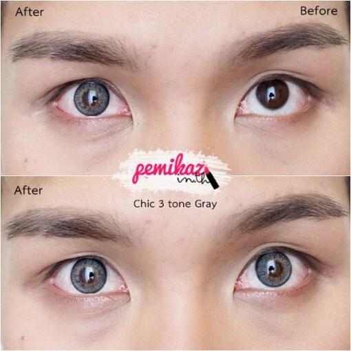 Chic Chic3Tone Gray คอนแทคเลนส์สีเทาสวยๆ ขนาดเท่าตาจริง