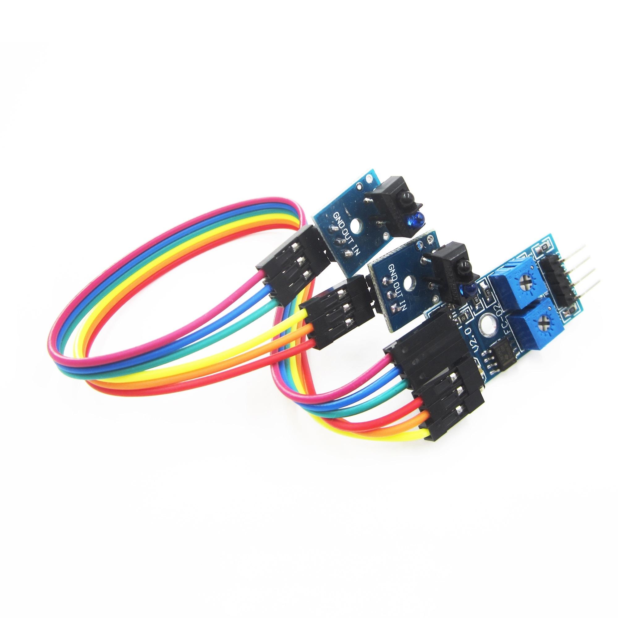 เซ็นเซอร์ ตรวจจับเส้นขาวดำ 2 จุด infrared reflectance sensor Obstacle avoidance module track sensor