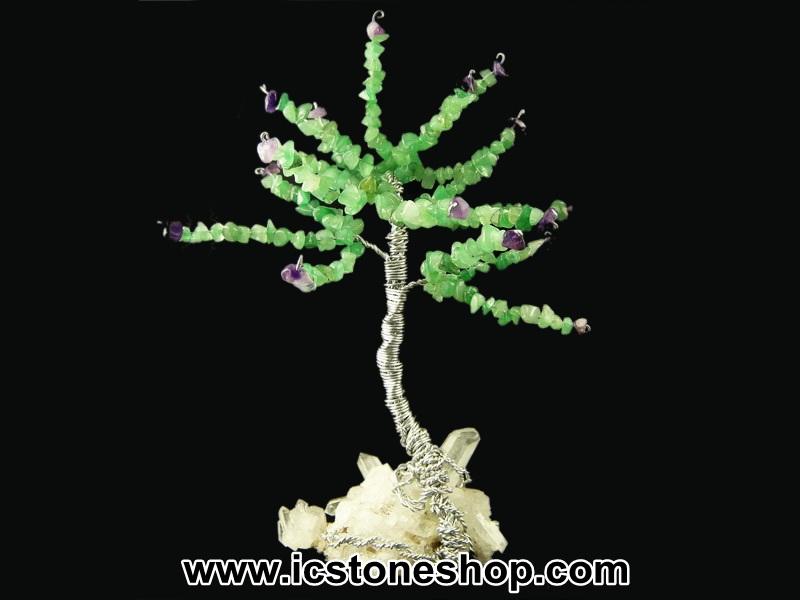 ▽ต้นไม้มงคล หินอเวนจูรีน-อเมทิสต์-ควอตซ์ ใช้เสริมฮวงจุ้ย โต๊ะทำงาน (239g)