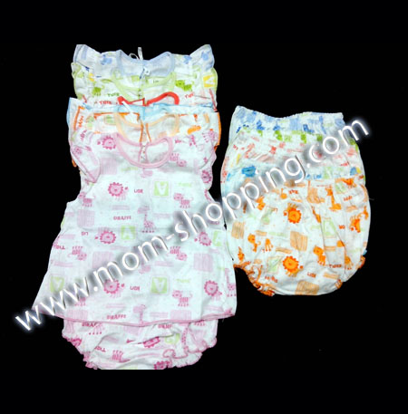 ชุดกระโปรง+กางเกง ผ้า cotton ลายการ์ตูน คละสี (3 ชุด)