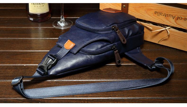 พร้อมส่ง กระเป๋าคาดอก สีน้ำเงิน หนังPU กระเป๋าแฟชั่นผู้ชาย