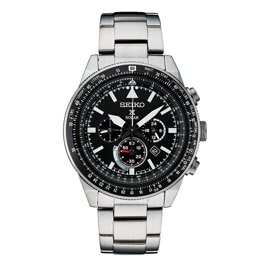 นาฬิกาผู้ชาย Seiko รุ่น SSC629, Prospex Solar Black Dial Stainless Steel