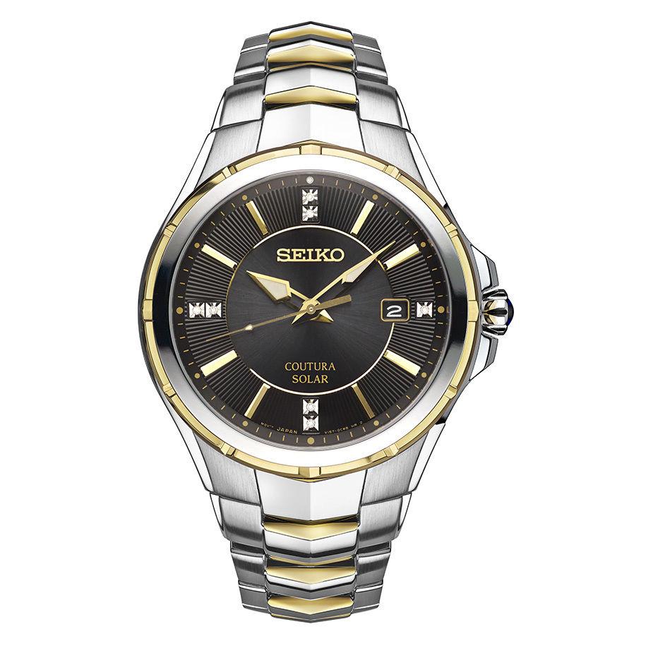 นาฬิกาผู้ชาย Seiko รุ่น SNE444, Coutura Solar Two Tone Stainless Steel Diamond Dial