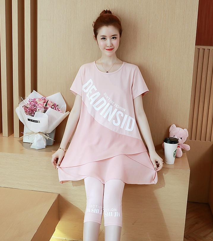 ชุดเสื้อคลุมท้อง+กางเกง 5ส่วน ลายน่ารัก เสื้อยาวปลายทำซ้อนกันแบบดอกไม้ M,L,XL,XXL