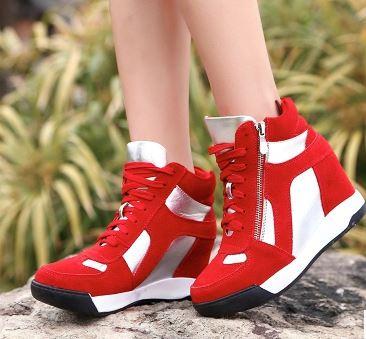 รองเท้าผ้าใบผูกเชือกส้นสูงแฟชั่นเกาหลี