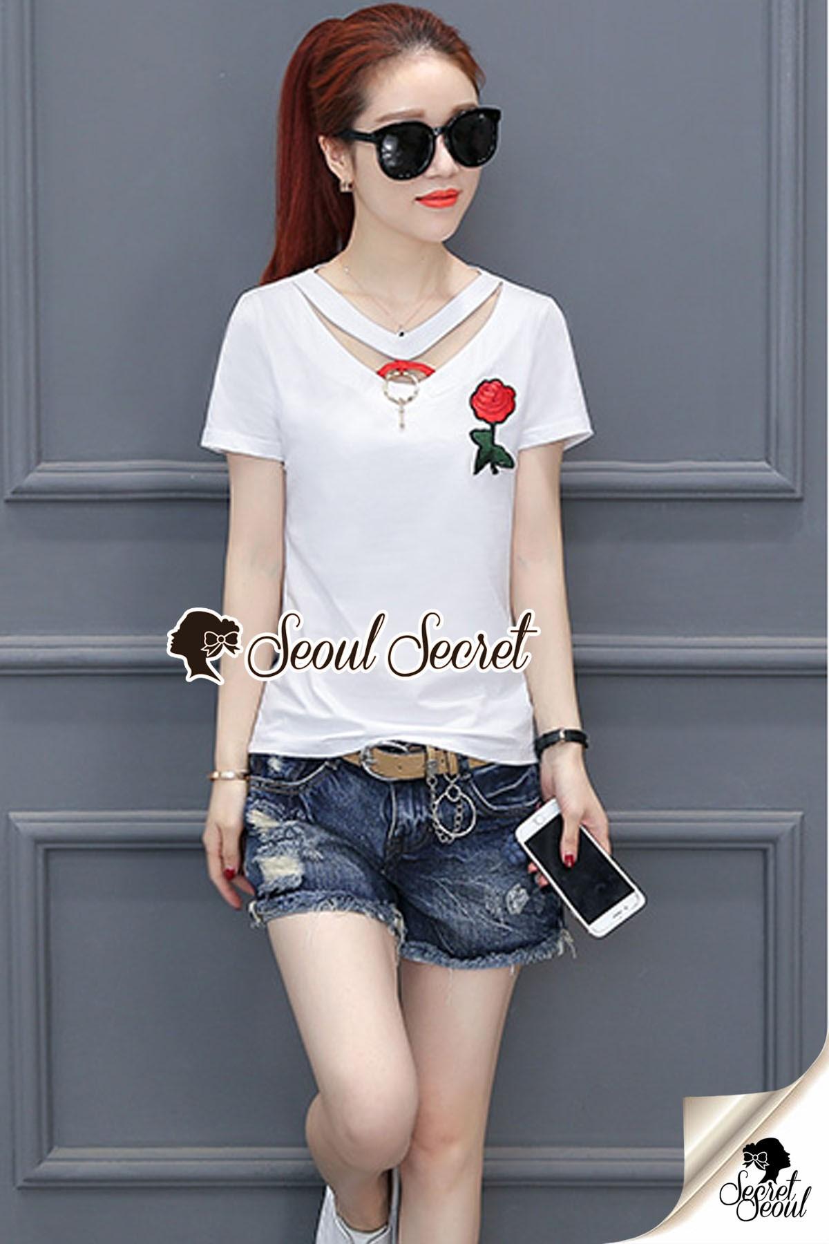 Seoul Secret Say's... Nifty Rosy Slitty Back Side Blouse