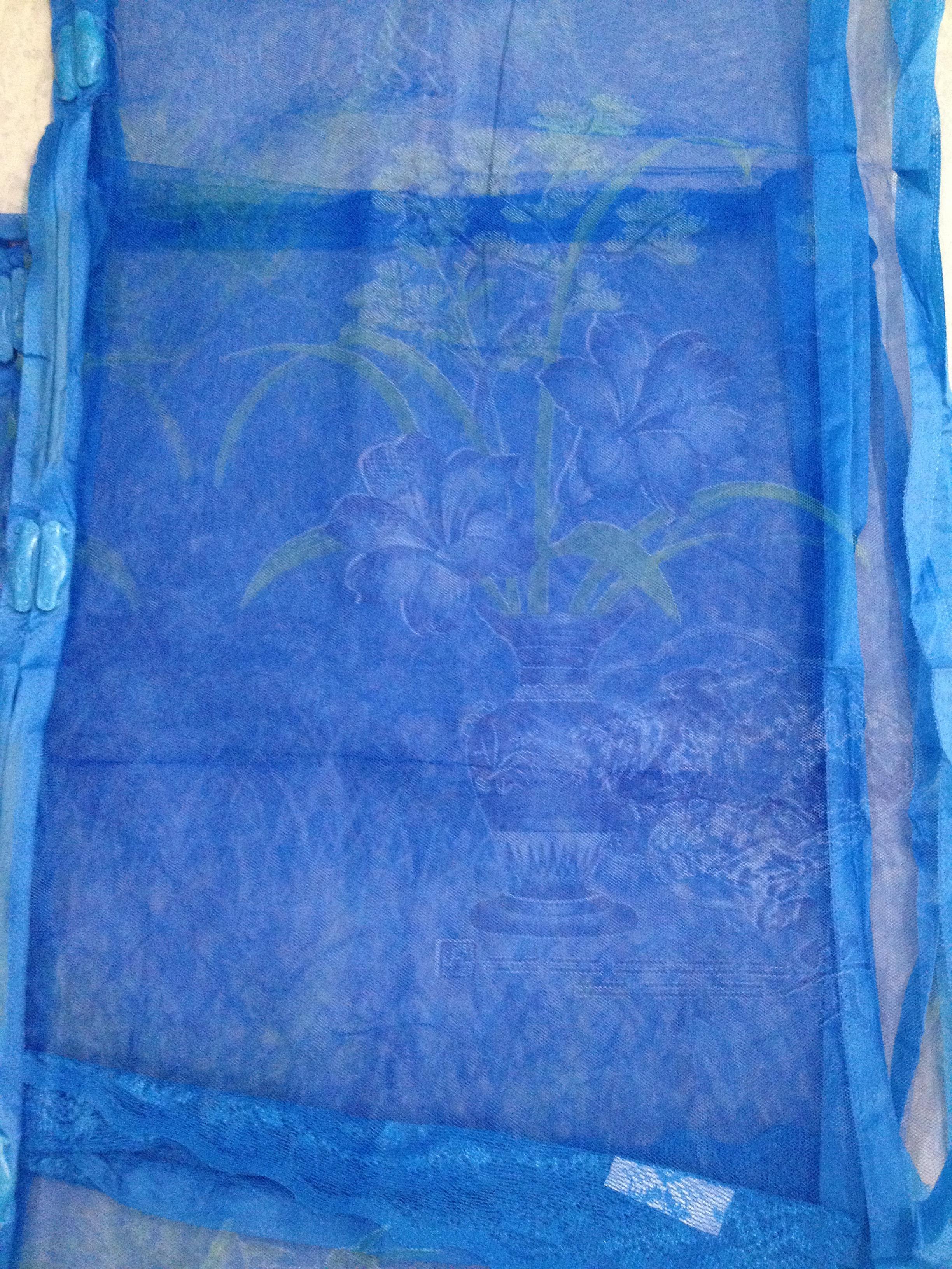 ม่านประตูกันยุงแบบพิมพ์ลาย ไชส์ 100 สีฟ้า/แจกันดอกไม้จีน