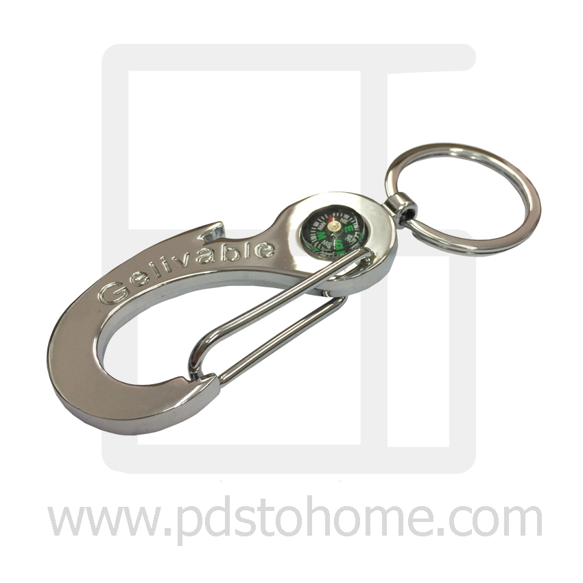 Keyring, Big Claw Keyring with compass picture, Silver