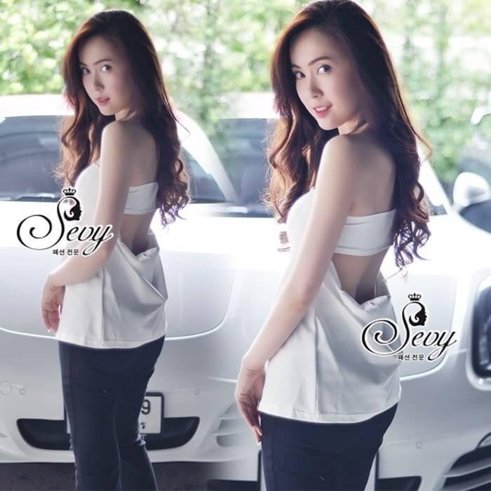 เสื้อผ้าแฟชั่นเกาหลี Sevy Sexy Back Strapless Top
