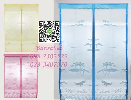 ม่านหน้าต่างกันยุง ก160xส150 ซม.แบบผ้าทอลาย คละสี