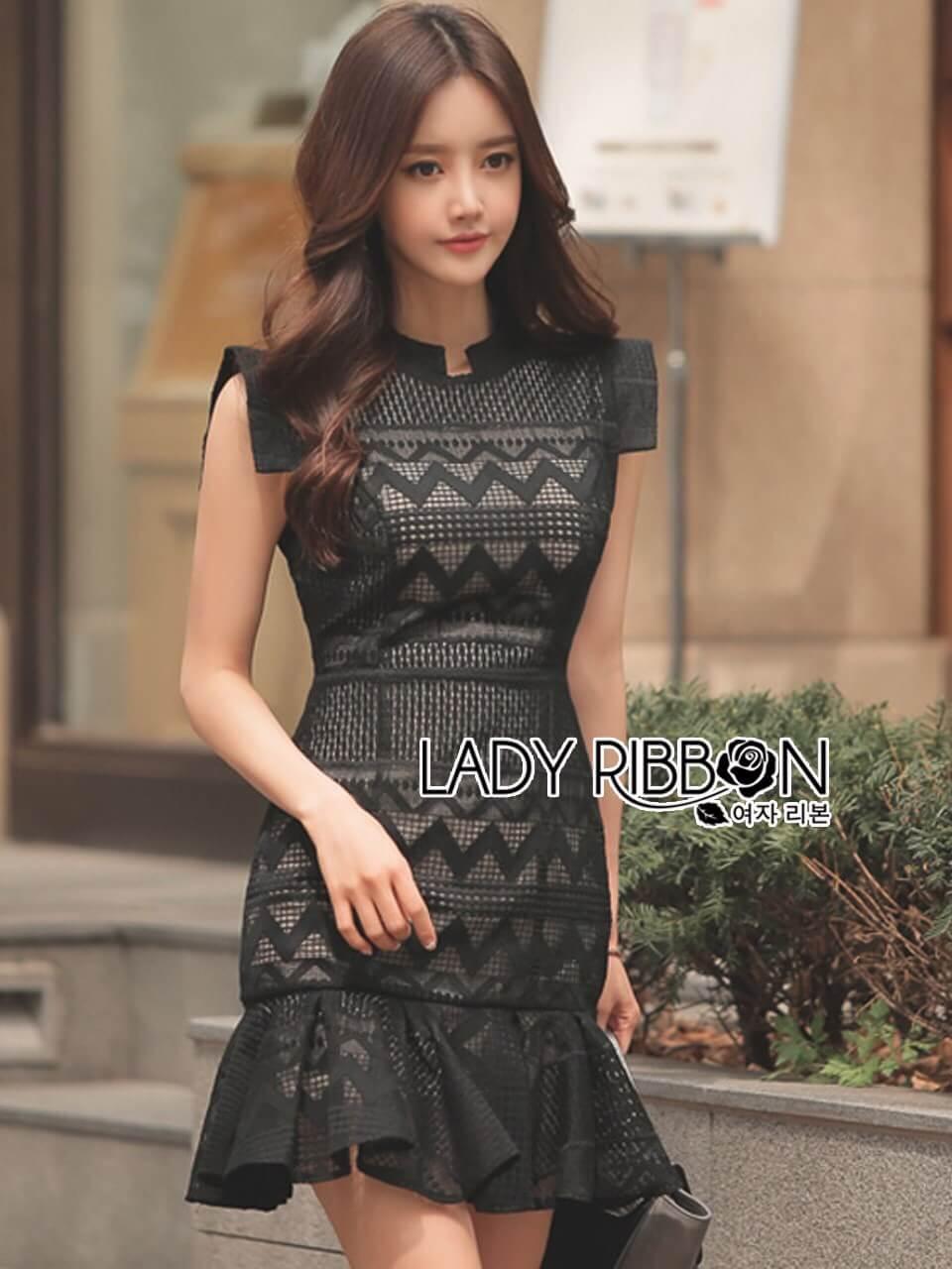 &#x1F380 Lady Ribbon's Made &#x1F380 Lady Anna Modern Sexy Graphic Lace Peplum Dress
