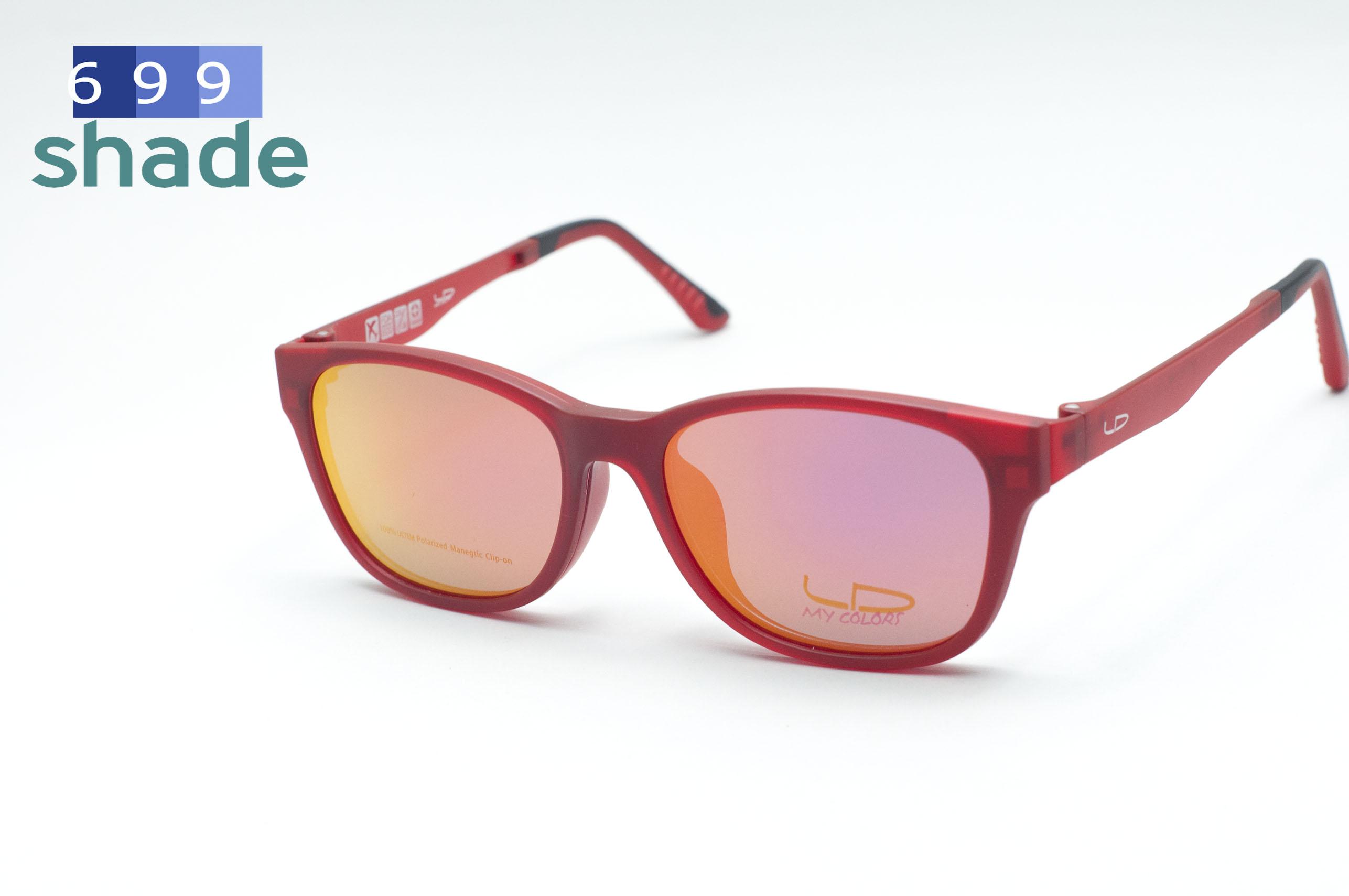 [LD รุ่น 7015 แดงปรอทชมพู] กรอบแว่นคลิปออนแม่เหล็ก เบา ยืดหยุ่น บิดงอได้ ส่งฟรี