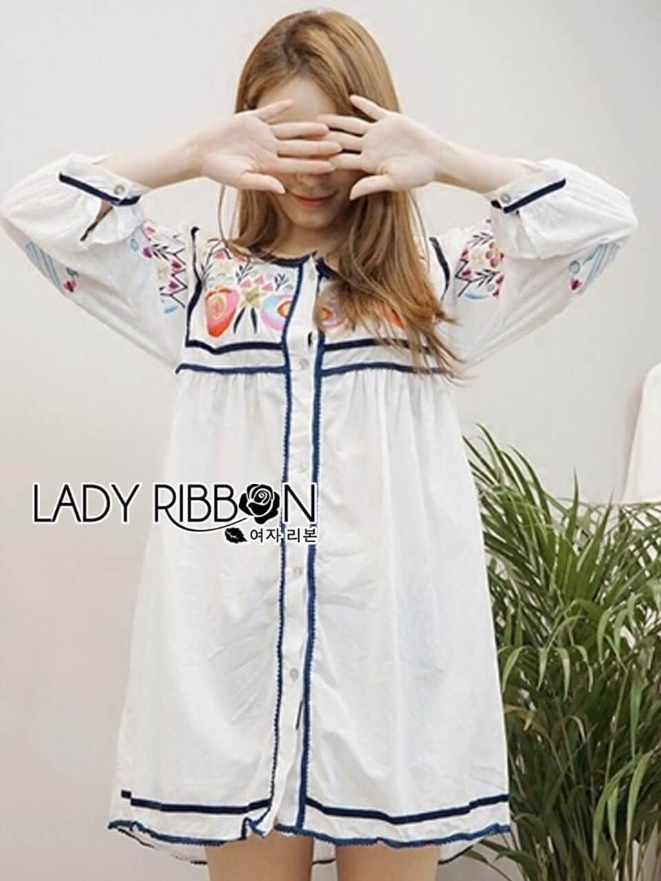 &#x1F380 Lady Ribbon's Made &#x1F380 Lady Alexandria Country Feminine Flower Embroidered Button-Down Cotton Dress
