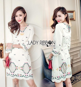 Lady Ribbon Mini Dress มินิเดรสผ้าเครปสีขาวปักลาย