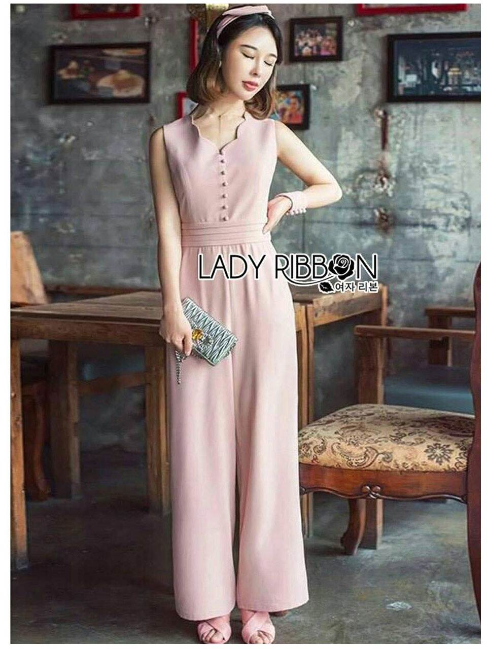 🎀 Lady Ribbon's Made 🎀Lady Caroline Minimal Feminine PalePink Crepe Jumpsuit