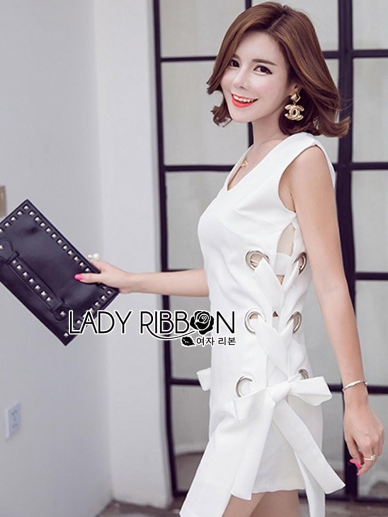 เสื้อผ้าแฟชั่นเกาหลี Lady Ribbon Thailand Lady Ribbon's Made Lady Lucy Minimal Chic Metal Loop Ribbon White Dress