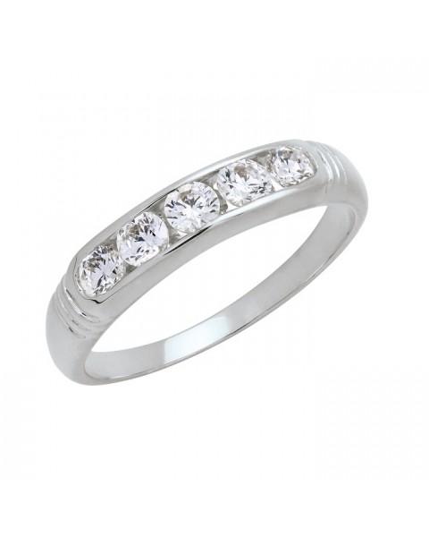 แหวนประดับเพชรฝังสอด 5 เม็ด หุ้มทองคำขาวแท้