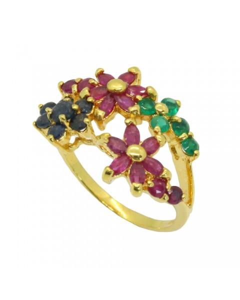 แหวนพลอยประดับโมรา ไพลิน ทับทิม ตัวเรือนอัลลอยด์หุ้มทองคำแท้