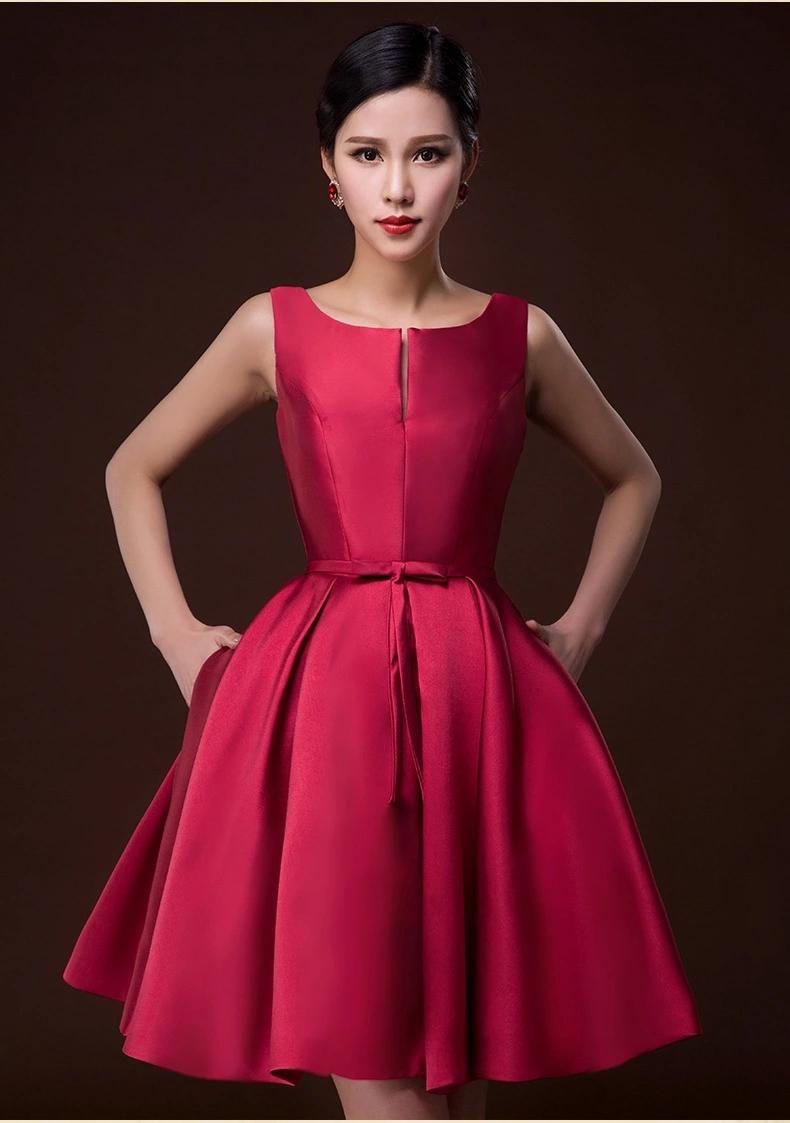 ชุดเดรสออกงานสีแดงเข้ม ผ้าไหมอิตาลี แขนกุด กระโปรงทรงเจ้าหญิงสวยหรู ใส่ไปงานธีมสีแดง