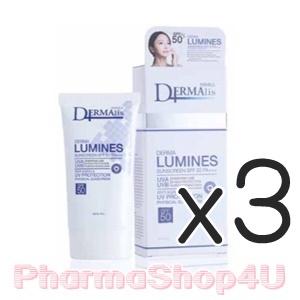 (ซื้อ3 ราคาพิเศษ) DERMALIS LUMINES SUNSCREEN SPF50 PA++ 30G เวชสำอางกันแดดสำหรับผิวแพ้ง่าย พร้อมลดริ้วรอย ในหนึ่งเดียว