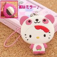 ที่ห้อยมือถือกระจกพกพา Kitty Beauty Up รุ่น Panda Kitty ด้านหลังเป็นกระจกขนาดเล็กไว้ตรวจเช็คความสวย ประหยัดเวลาหากระจกในกระเป๋าค่ะ