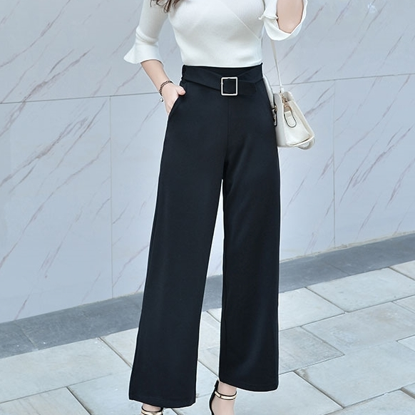กางเกงทำงานผู้หญิงสีดำ ทรงกระบอก เรียบร้อย ทรงสวย ดูดี สไตล์สาวออฟฟิศ