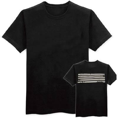 เสื้อแฟชั่น คอกลม แขนสั้น หลังลายแถบ สีดำ
