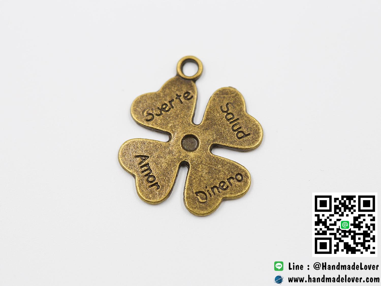 จี้โลหะ,ตัวห้อยซิป สีทองรมดำ รูปใบโคลเวอร์ (Lucky Leaf)