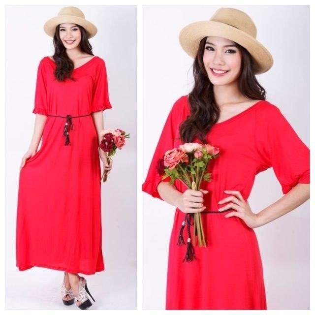 ชุดคลุมท้อง maxi dress สีแดงสด ผ้านิ่ม ยืดหยุ่นดีค่ะ
