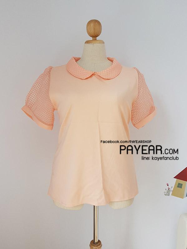 เสื้อ ผ้าฮานาโกะ คอบัว แขนตาราง สีส้ม อก 50 นิ้ว